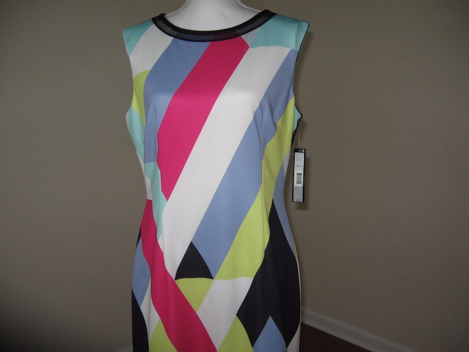 Tahari ASL Geometric Striped Scuba Sheath Dress for Woman Size 10 12 NWT