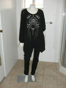 Faded-Glory-Tribal-Black-Asymetric-Pull-Over-Blouse-Size-2X