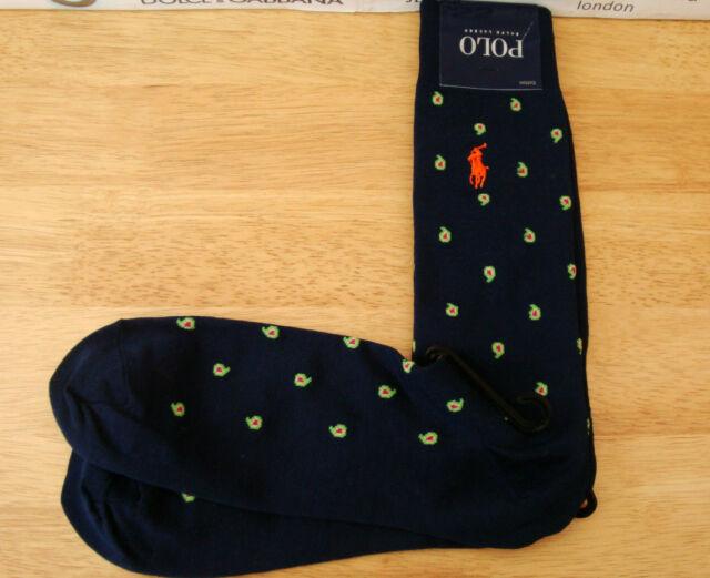 Polo Ralph Lauren Mens Socks 2 Pairs 7-12 Black Polka Dots Cotton NEW