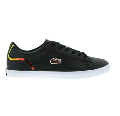 74fa8906df11d LACOSTE LEROND 317 1 FLE CAJ BLACK LEATHER GIRLS TRAINER SHOE SIZE 3 - 5.5  NEW