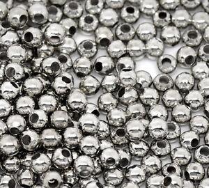 1000-Silberfarbe-Glatt-Kugeln-Spacer-Perlen-Beads-D-0-3cm