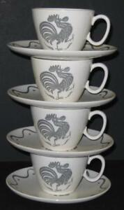 Vtg-Royal-China-early-morning-Rooster-coffee-cups-and-saucers-4-sets-034-Provencal-034