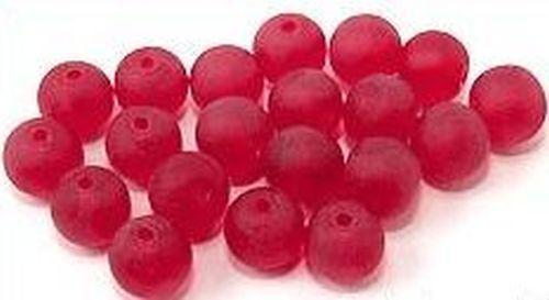 20 perles de verre gefrostet environ 8 mm #21 Rouge