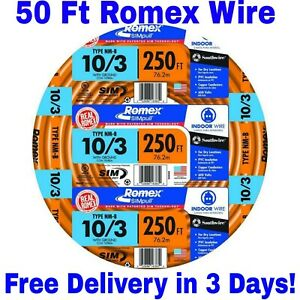 10-3-W-GROUND-ROMEX-INDOOR-ELECTRICAL-WIRE-50-039-FEET-ALL-LENGTHS-AVAILABLE