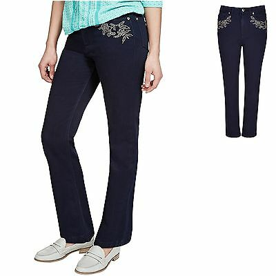 M&S Per Una 10 14 16 Roma Rise Straight Leg Floral Embellished Jeans Indigo New
