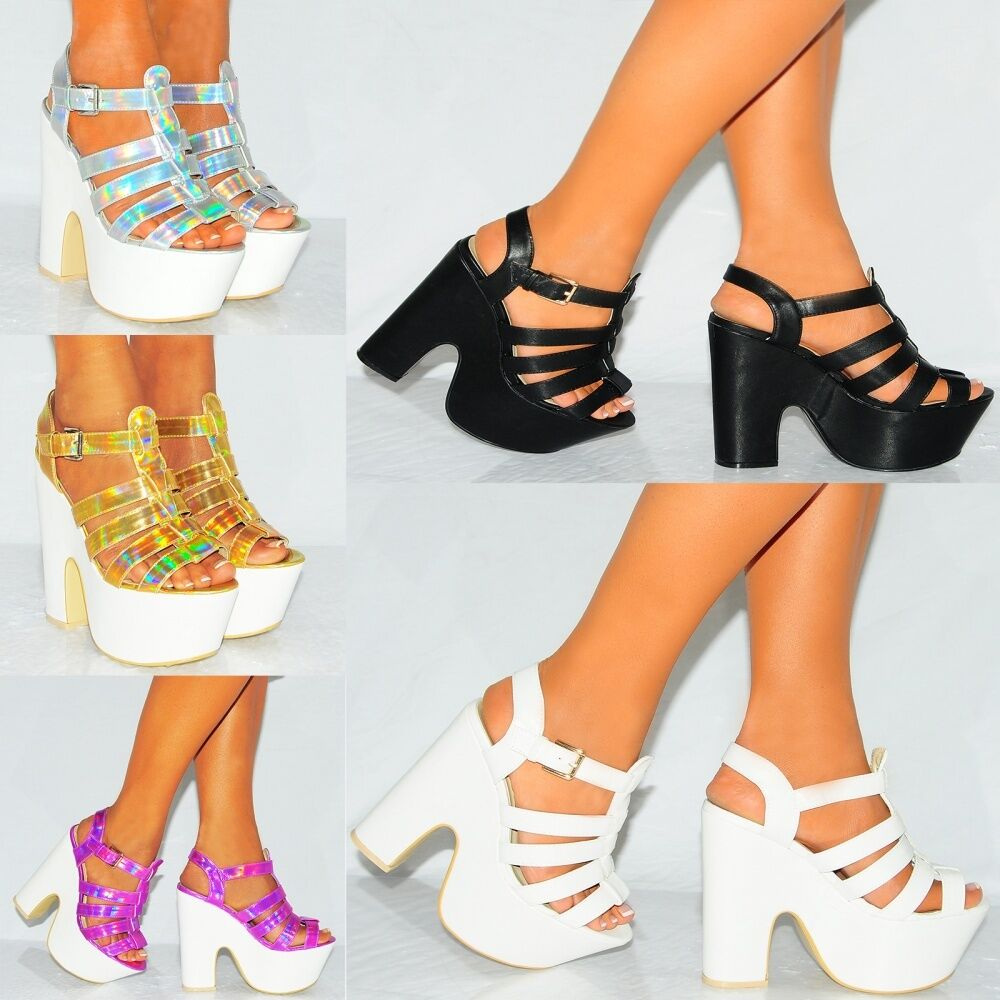 LADIES STRAPPY HOLOGRAM PEEP HIGH TOE CHUNKY WEDGES PLATFORM HIGH PEEP HEEL SHOES SIZE 3-8 4a5ade