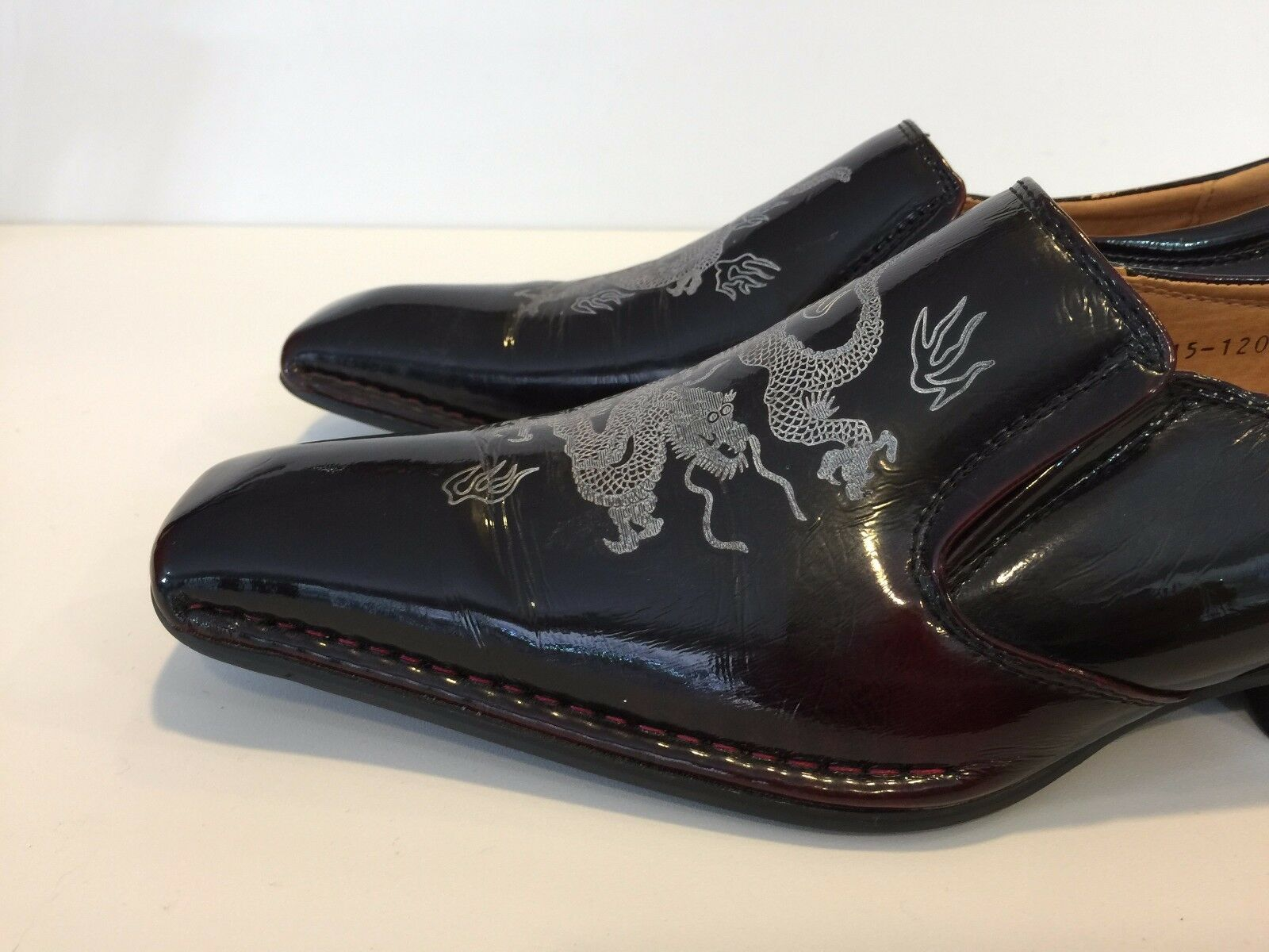 Ball-Bank Uomo Dark marrone & Burgundy Pelle w/Dragon w/Dragon w/Dragon Wedding Casual Scarpe ff1491