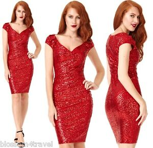Rrp £65 Dress Party Cocktail Lined Bridesmaid Evening Prom Sequin Goddiva Red znSqTxPzU