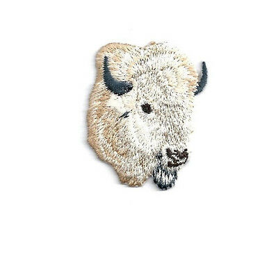 White Bison Buffalo Head Embroidered Iron On Patch Buffalo Right