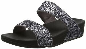 5bf2ef353da4 fitflop size 6-7 pewter silver grey glitterball slide toning flip flops  sandals