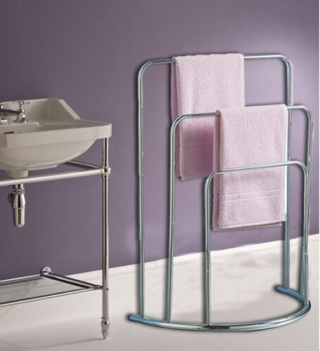 Curved Towel Holder Stand Three Tier Free Standing Bathroom Rail 3 Bar
