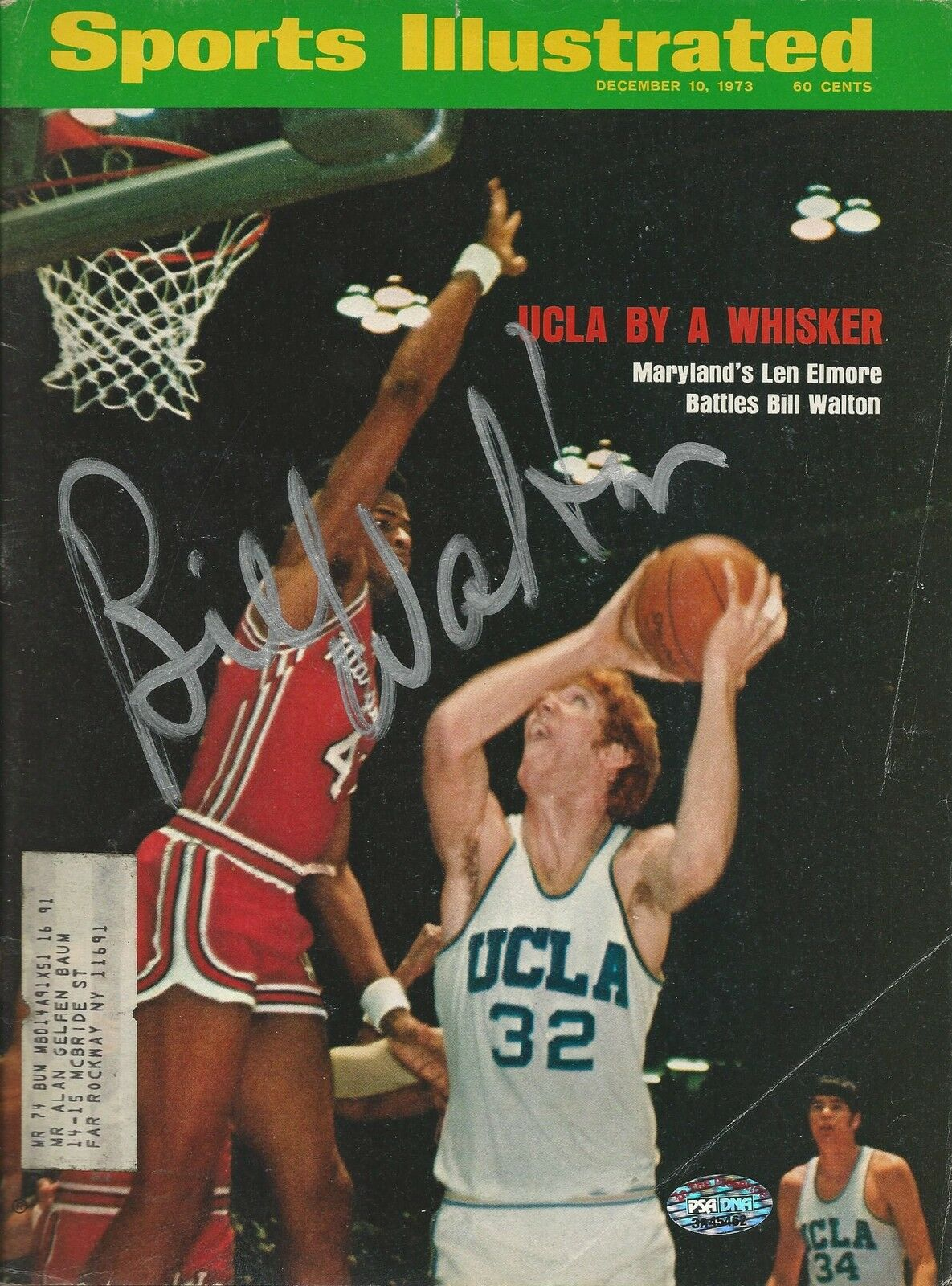 Bill Walton UCLA signed 1974 Sports Illustrated Magazine PSA/DNA COA# 3A45462