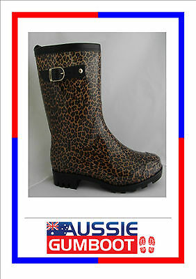 Gumboots Ladies Mid Length Leopard Size 5 6 7 8 9 10 11 Buckle Wellies Women New
