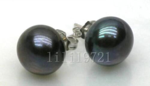Genuine 13-13.5mm TAHITIAN Black AAA+ Pearl Earring 14k White Gold