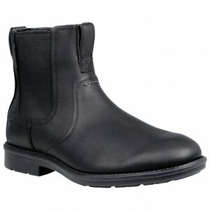 Details about Men's Timberland Carter Notch Plain Toe PullOn Chelsea Boots Black Leather A17GO