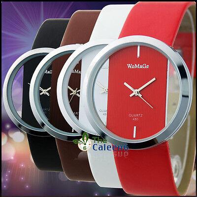 Women Lady Wrist Watch Glass Surface Sport Quartz Analog Leather Stainless Steel