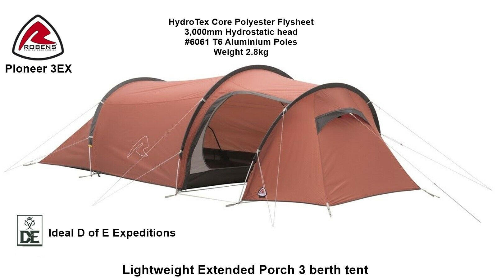 Robens Pioneer 3EX  - NEW for 2019 - Lightweight 3 Berth Tent - Ideal for D of E