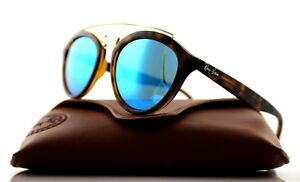 NEW-Authentic-Ray-Ban-GATSBY-II-Tortoise-Blue-Mirror-Sunglasses-RB-4257-6092-55