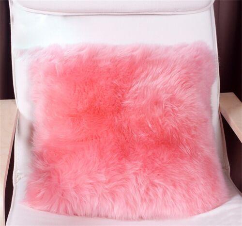 Luxury Real Sheep Skin Fur Fleece Pillow Cushion Soft Cove Pillowcase Pageant