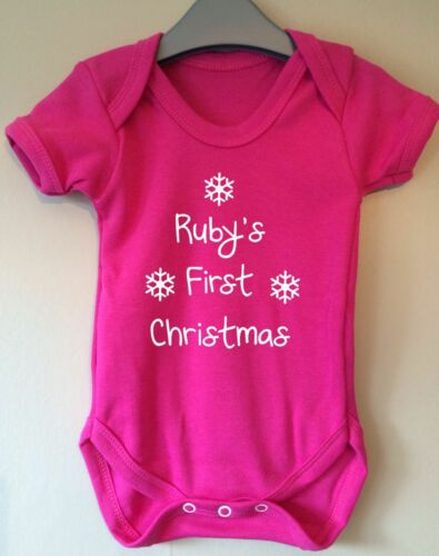 FIRST CHRISTMAS PERSONALISED BABY BODY VEST BABY GRO GIFT IDEA GIRL BOY