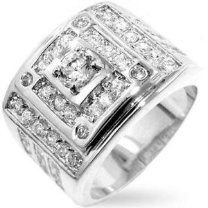 Men's Stepped 14K White Gold Bonded Simulated Diamond Size 10 Bling Ring G47