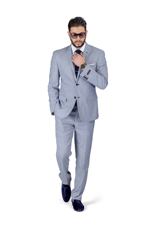 Silber Blau Slim Fit Men Suit Micro Texturot Weave 2 Button Notch Collar Azar