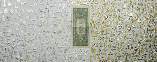 1000 MILAGROS wholesale lot gold and silver color mexican folk art 2 POUNDS