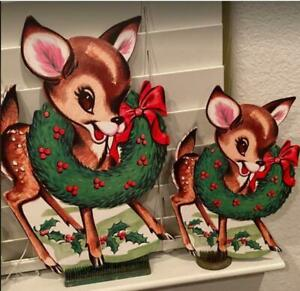 Cutest-Ever-Vintage-Look-Beistle-Dear-Reindeer-Cardboard-Cutouts-6PCS-10in-to-14