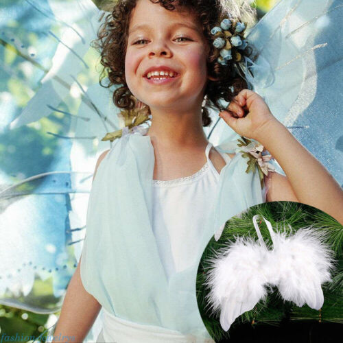 Mini Angel White Feather Wing Christmas Tree Wedding Hanging Ornament DIY Decor