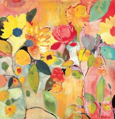 """35W/""""x35H/"""" URBAN GARDEN by KIM PARKER ABSTRACT FLORAL CANVAS"""