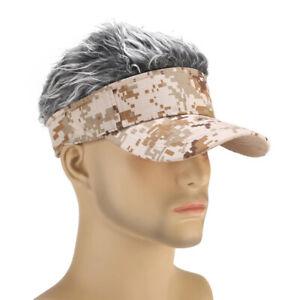 Fashion-Hommes-Baseball-Golf-Chapeau-Casquette-Soleil-Visiere-Perruque-Chapeau-Avec-Faux-Flair-Hair
