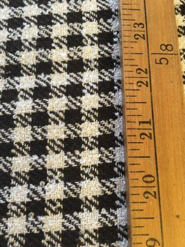 Mezcla de lana negro y crema Check Invierno Peso Tela por metros