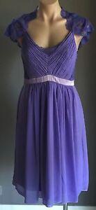 Hand-Made-Lavender-Lace-amp-Chiffon-Knee-Length-Empire-Waist-Dress-Size-10-Pretty