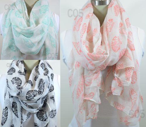 Sea Life Summer Shawl scarf Coral Mint Black White Sea life light woven scarf