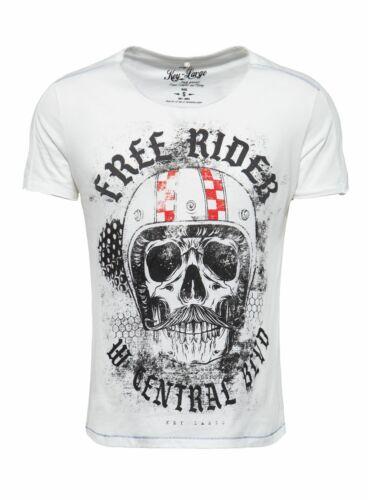 Key largo caballero t-shirt Moustache Skull calavera Print Bart motivo slim fit