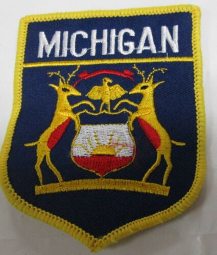 Michigan State Flag Embroidered  Patch 3 x 3.5 inch Emblem Iron on or sewing in