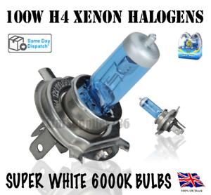 2x H4 100W SUPER XENON WHITE HALOGEN BULBS HEADLIGHT BULBS WHITE 6000K