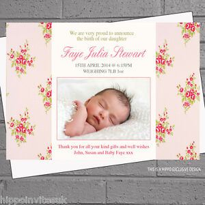 Personalised Rose Girl Baby Birth Announcement Thank You Cards X 12