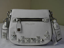 Marc Jacobs White Recruit Chipped Studs Nomad Small Saddle Bag Crossbody