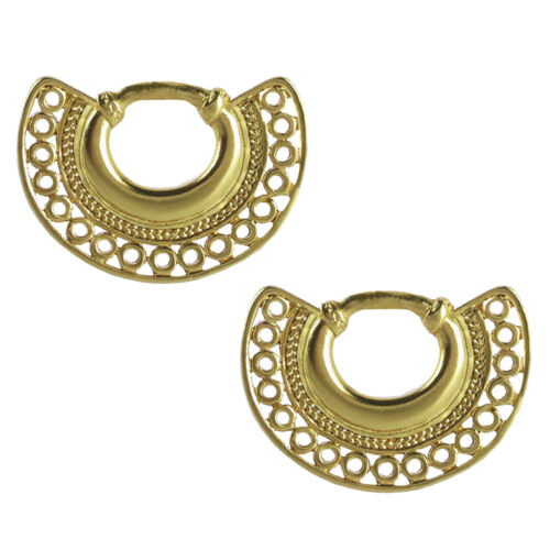 Details about  /ACROSS THE PUDDLE 24k Gold Plated Pre-Columbian Nose Ring Drop Earrings