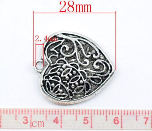 2 ANTIQUE SILVER 3D FILIGREE HEART CHARM//PENDANT 28x25mm Jewellery Chain 17g