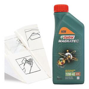 Engine-Oil-Top-Up-1-LITRE-Castrol-Magnatec-10w-40-1L-Gloves-Wipes-Funnel