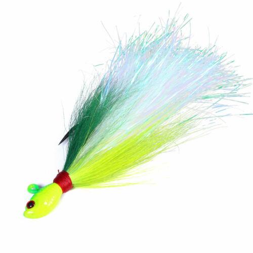 6pcs Bucktail Jigs 1//4oz,1//2oz,1oz,2oz,3oz Saltwater Lures Fluke Trout Bait