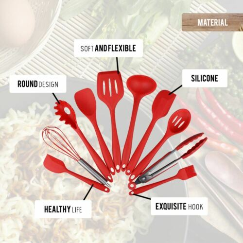 10x Kitchen Non-Stick Silicone Cooking Utensils Ladle Whisk Spoon Spatula Brush