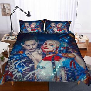 3D-Harley-Quinn-et-Joker-Parure-de-lit-Suicide-Squad-avec-Housse-de-Couette-Taie-d-039-oreiller