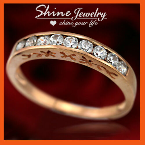 REAL 9K ROSE GOLD ETERNITY ENGAGEMENT WEDDING DIAMONDS SIMULANT SOLID BAND RING
