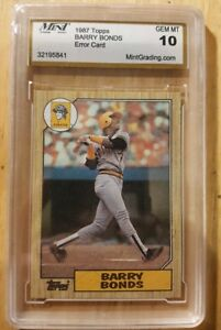 Details About 1987 Topps 320 Barry Bonds Error Wrong Player On Back Rookie Card