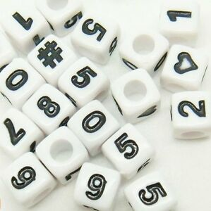 50-x-7mm-Cubed-Number-Beads-Mixed-or-Single-numbers