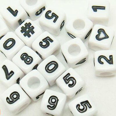 100 x 7mm Cubed Number Beads, Mixed or Single numbers