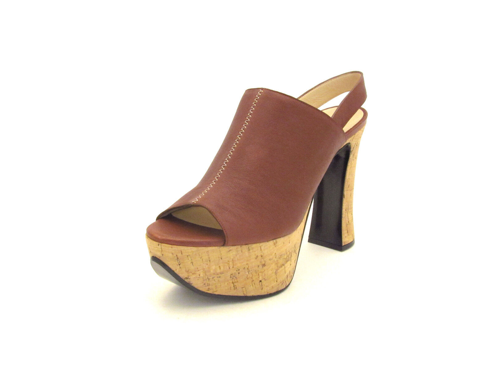 New Chloe Alice Leather Cork Platform Slingback Sandals in Brown 41EU Retail 670